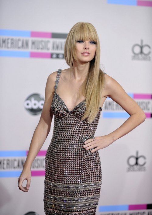 Taylor Swift, straight hair, silver and gray dress,