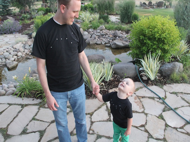dad and son in contellation tee shirts