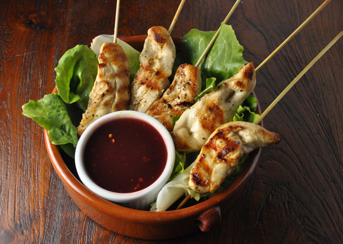 Chicken Skewers with Spicy Cranberry Dipping Sauce Recipe