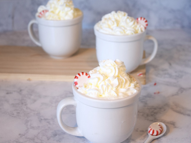 Peppermint latte whipped cream cups