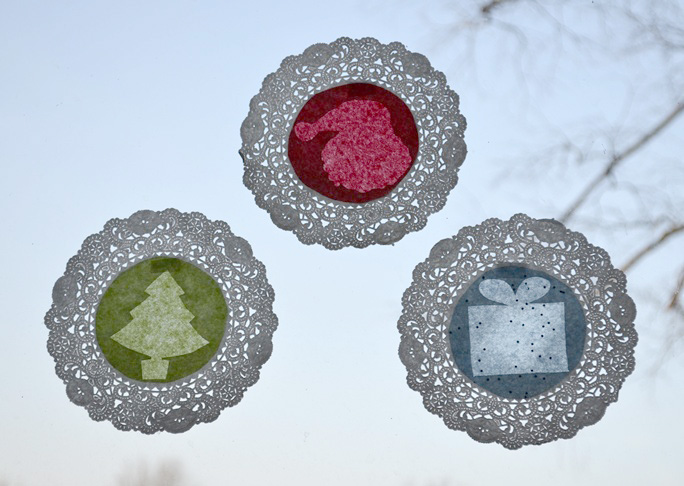 """Stained """"Glass"""" Doily Craft"""