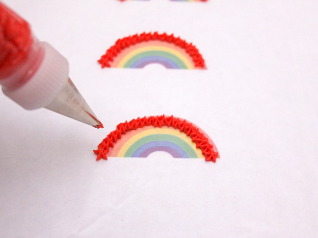 red icing rainbows