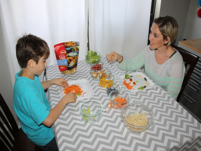 Mom and Son at Dinner Table