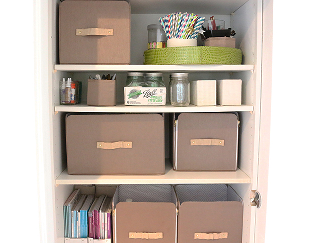 Closet with craft materials and boxes