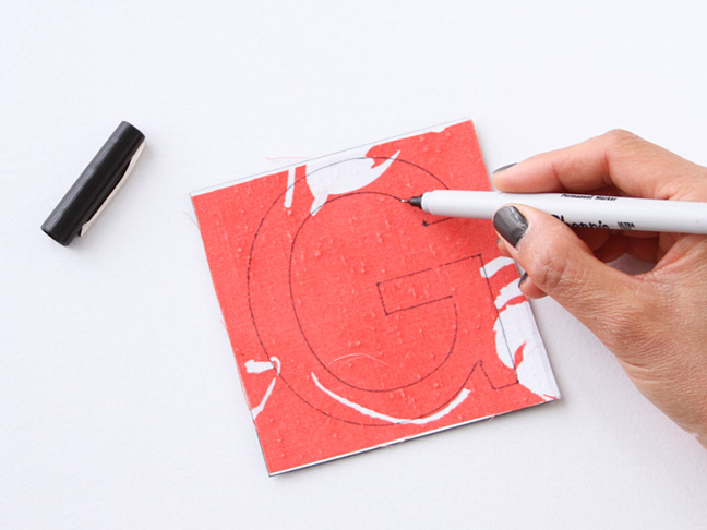 Draw letter on fabric magnet sheet