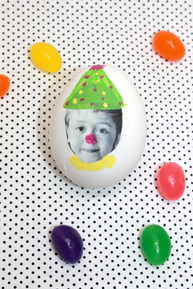 paint silly faces on easter eggs