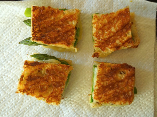 sandwich-grilled cheese-asparagus-white-paper towel-bite-sized