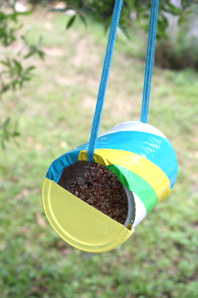 DIY Duct Tape Recycled Can Bird feeder Craft