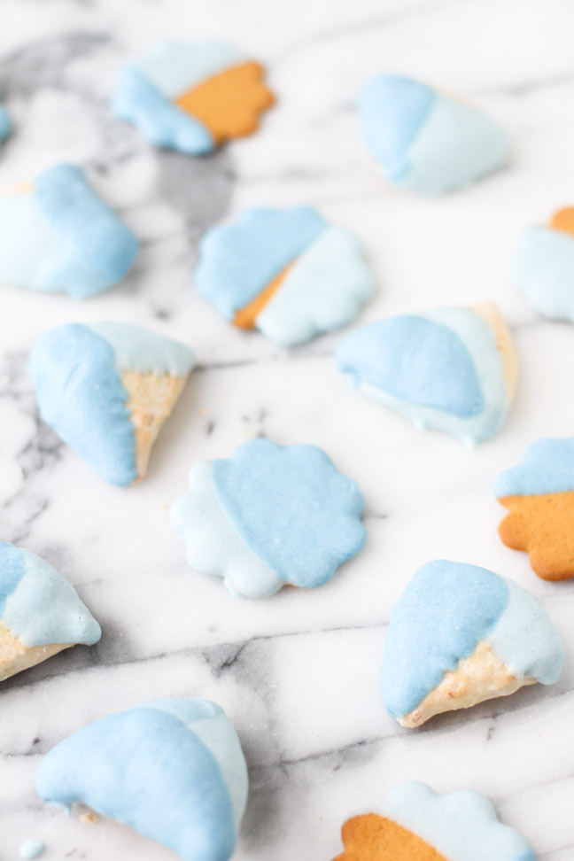 Blue chocolate dipped cookies for Baby Shower Gender Reveal