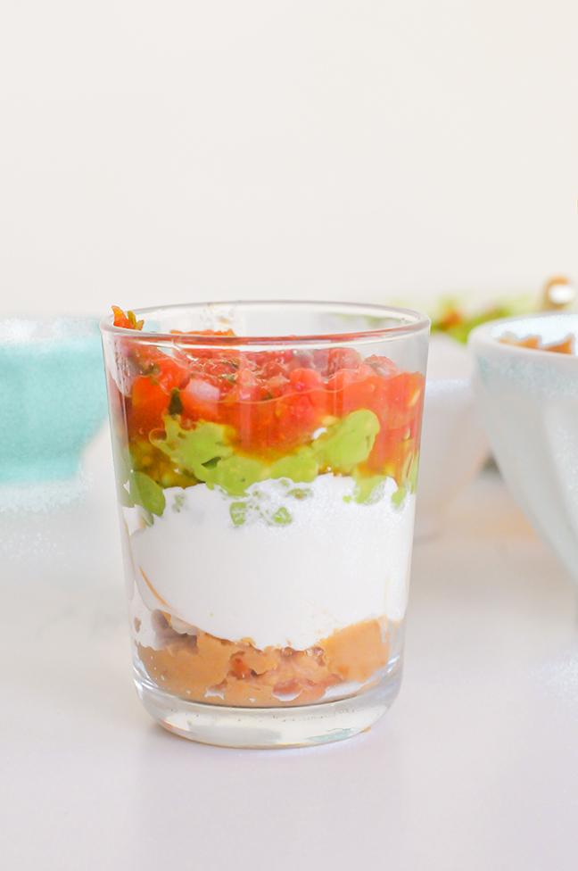 how to assemble mini 7 layer dips