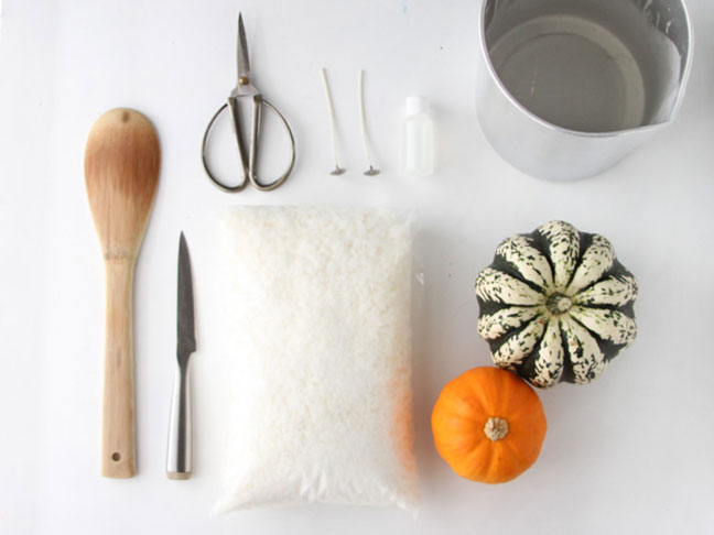 Supplies for making your own pumpkin candle