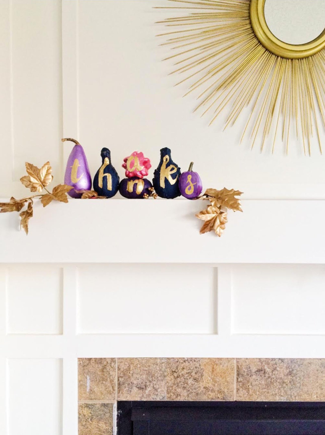 DIY Gold Foil Typography Thanksgiving Pumpkins | Shauna Younge