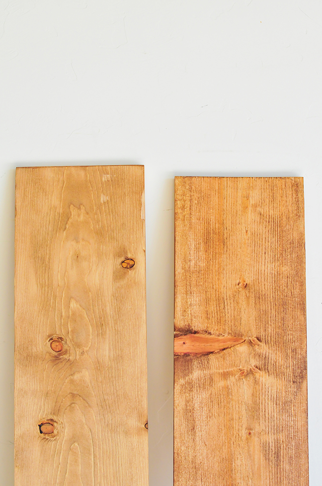 sanding and staining wood to create industrial wall shelves