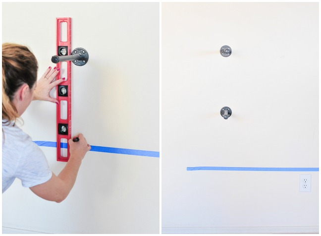 steps for hanging plumbing supplies to mimic industrial wall shelves