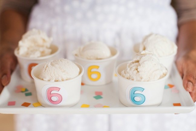 custom ice cream cups for kids birthday party   Shauna Younge Dessert Tables (images: Sydnee Bickett)