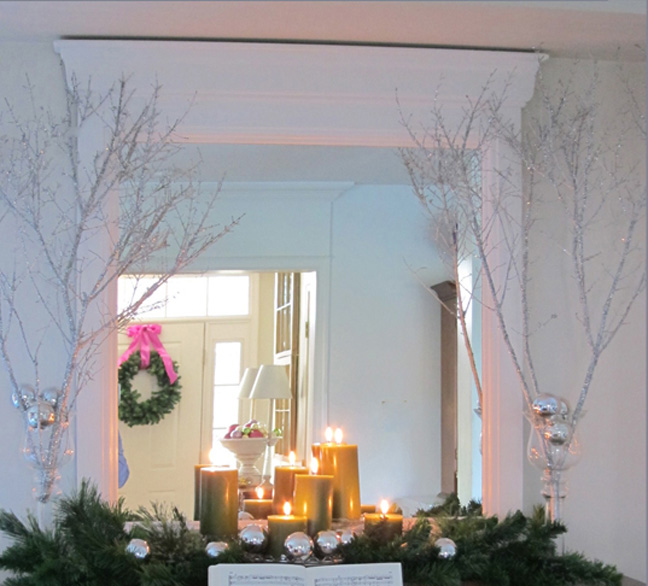 silver_christmas_decor_branches_glitter_mantle