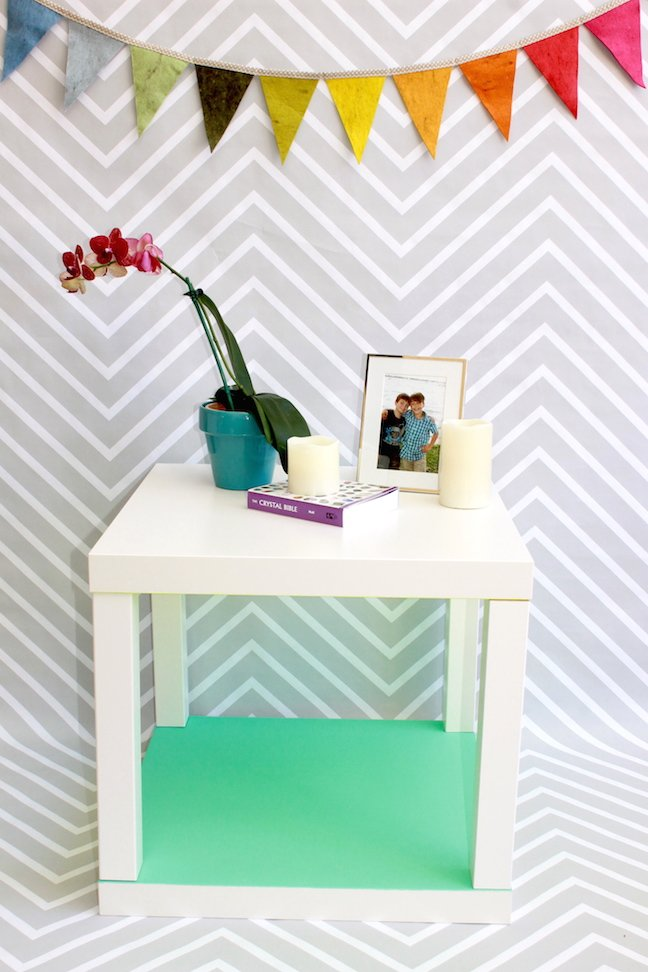 mint green accent side table