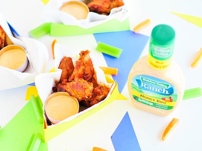 wings and ranch dip in triangle box