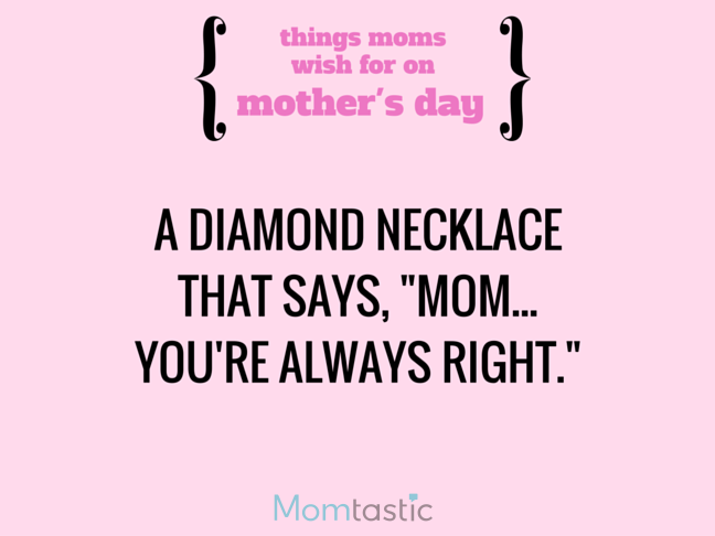 Things Moms Wish for on Mothers Day via @itsMomtastic by @letmestart A message necklace and other LOLs for moms   Funny Mother's Day gift guide