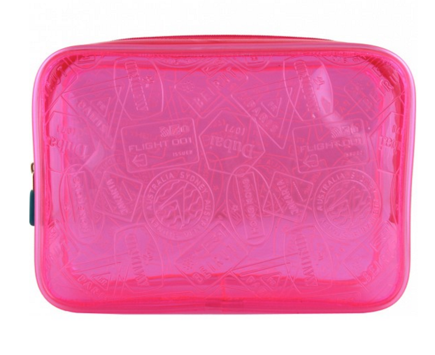 hot pink translucent toiletry bag