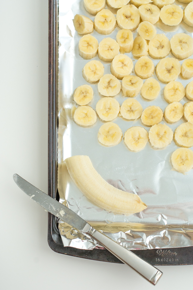 bananas sliced on cooking tray