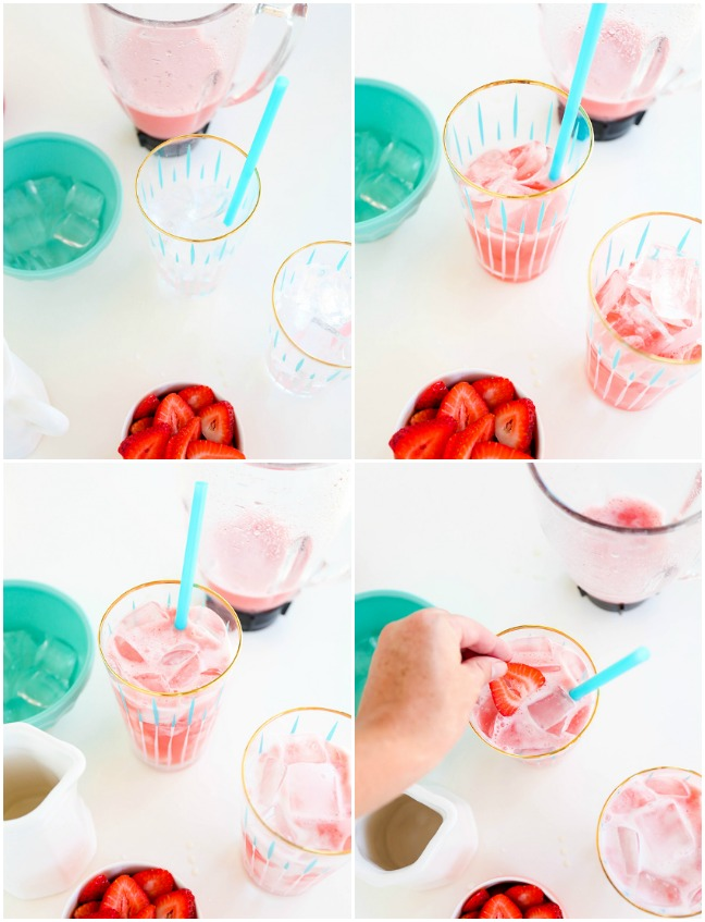 gold rimmed glass with blue straw and pink juice