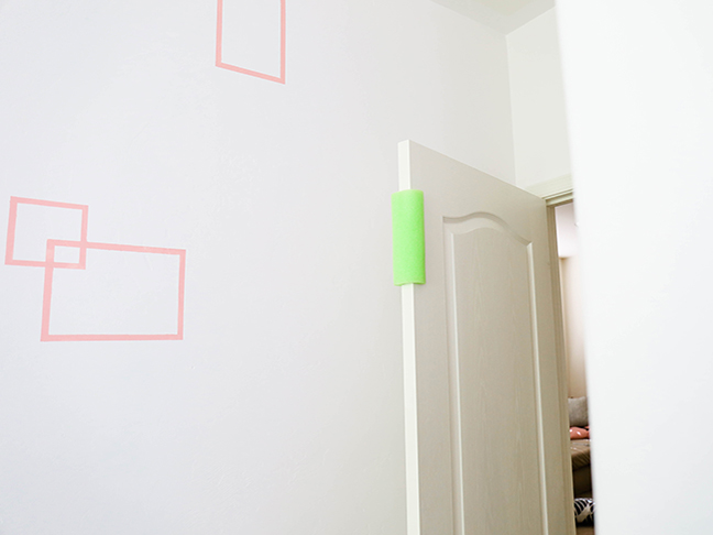 protect small fingers from getting smashed by lining doors with pool noodles \\ Toddler Proofing Tricks You've Never Heard of Before