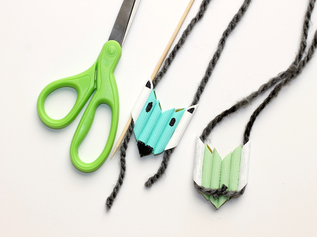 yarn and pasta necklace and scissors