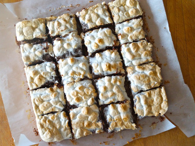 s'mores brownies on parchment paper