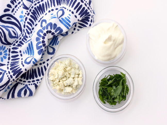 blue cheese crumbles sour cream and parsley