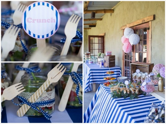 gender-reveal-baby-shower-salty-sandwiches-pink-candy-crunchy-food-fork-gold-salad-in-a-jar