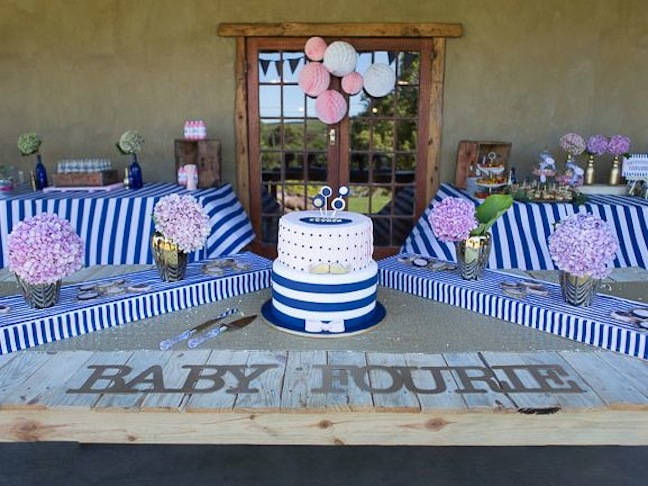 baby-shower-pink-blue-stripes-cake-gold-baby-party