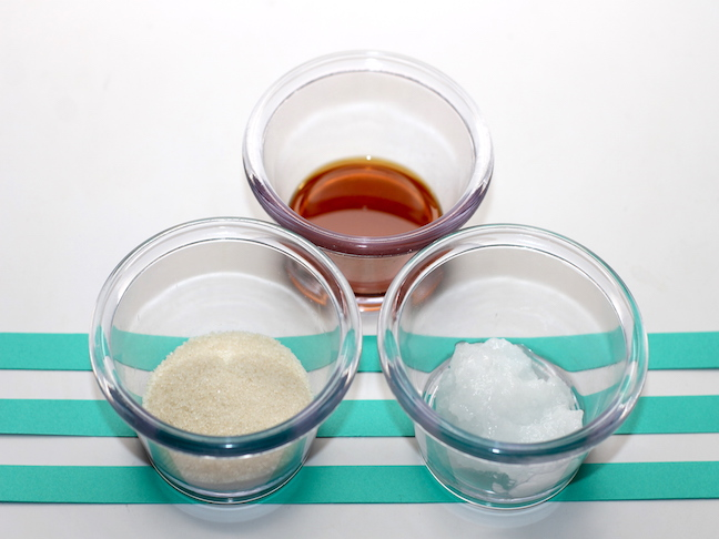 sugar vanilla extract and coconut oil in bowls