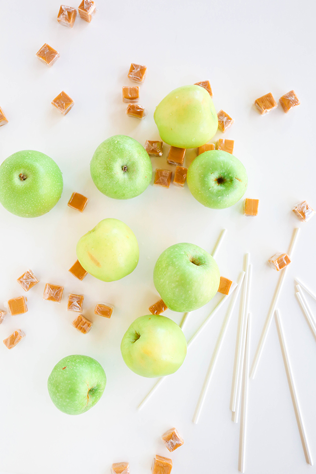green apples sticks and caramels