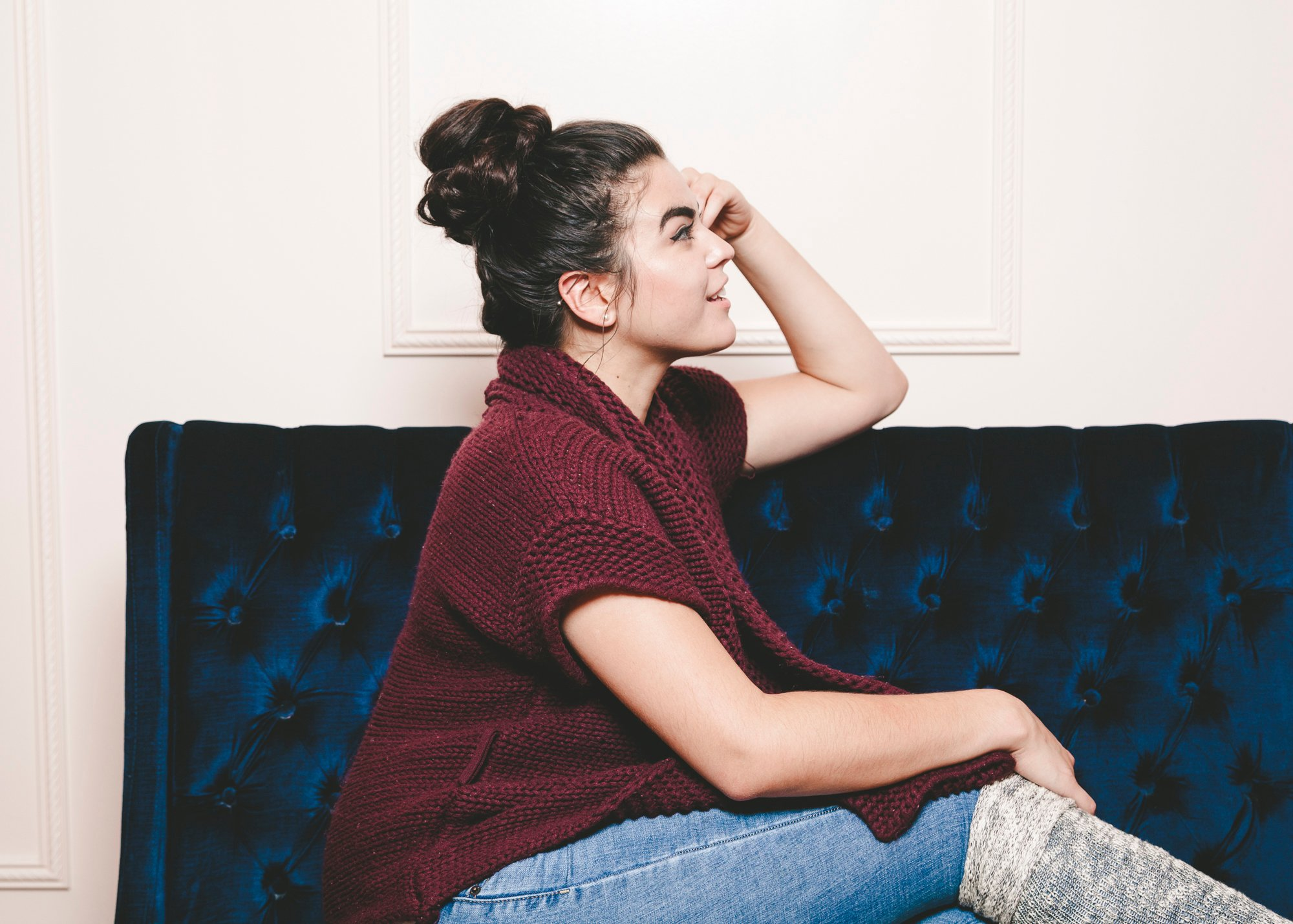 side view of braided top knot