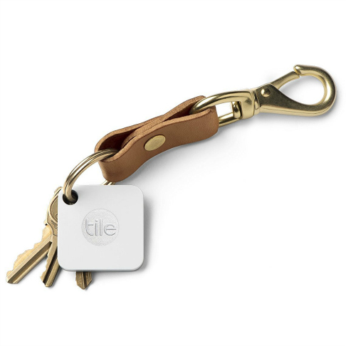 Tile tracking tag on leather key ring