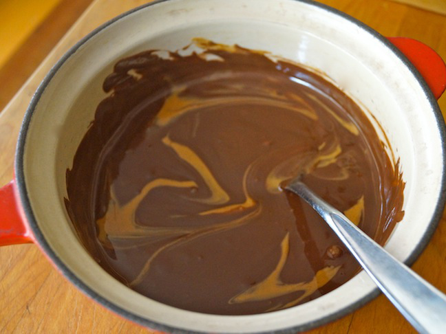 melted chocolate peanut butter swirl
