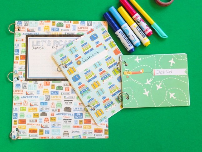 diy-travel-journals-and-travel-theme-scrapbook-paper-markers