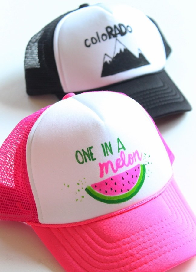 one-in-a-melon-colorado-black-and-white-hat-trucker-hat-with-diy-art