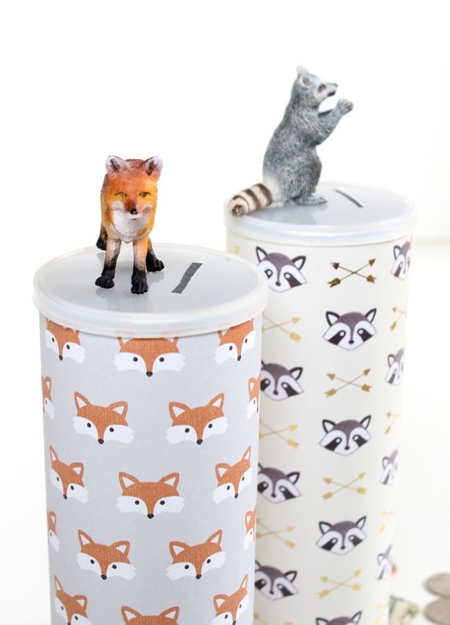 fox-and-raccoons-on-a-diy-piggy-bank-for-kids