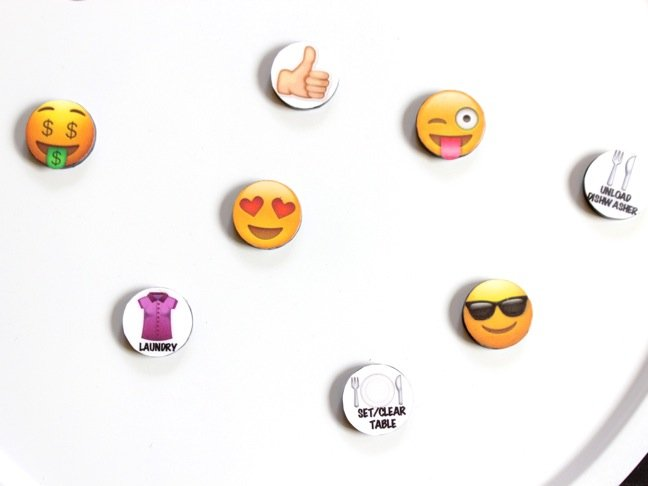 emoji's-and-chores-on-round-magnets