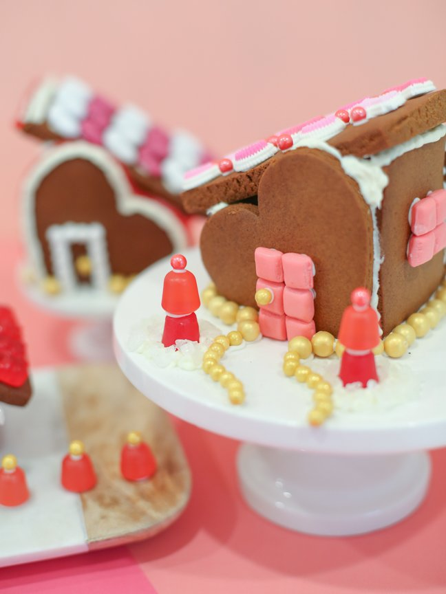 Valentine gingerbread house with candy door