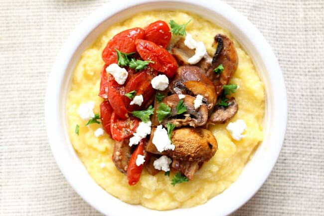 Creamy Polenta with Roasted Mushrooms and Goat Cheese