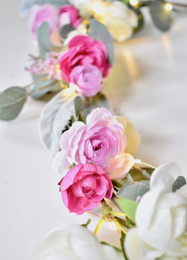 Welcome Spring With A DIY Flower Garland With Lights
