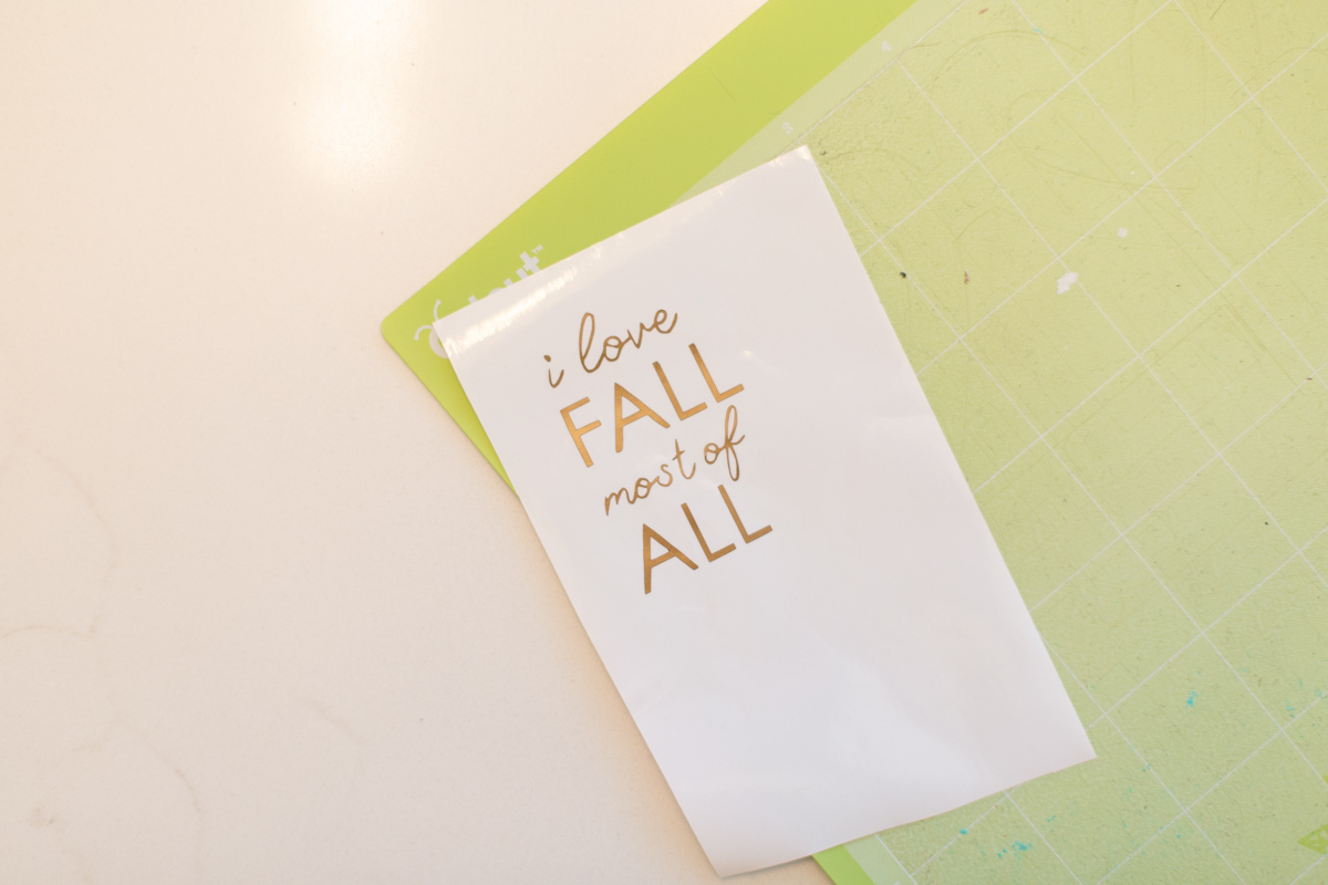 Cut vinyl with fall message