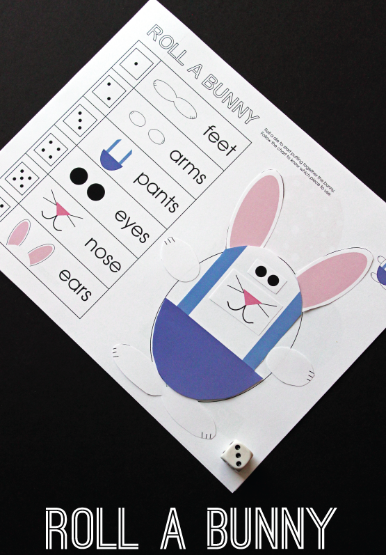 Roll-A-Bunny Printable Easter Game