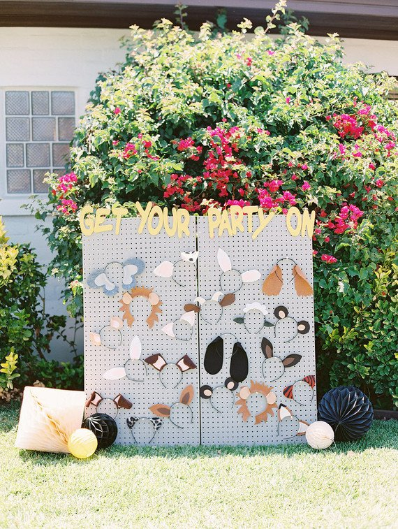 Animal Mask Prop Wall for a Toddler Party