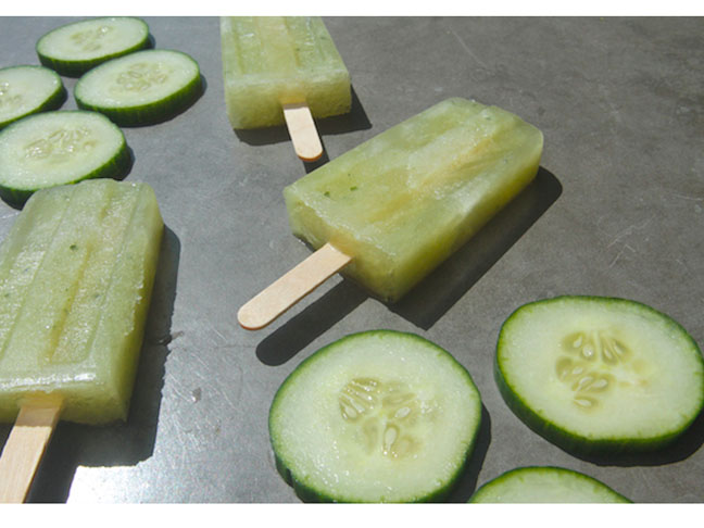 Cucumber Ginger Gin Popsicles