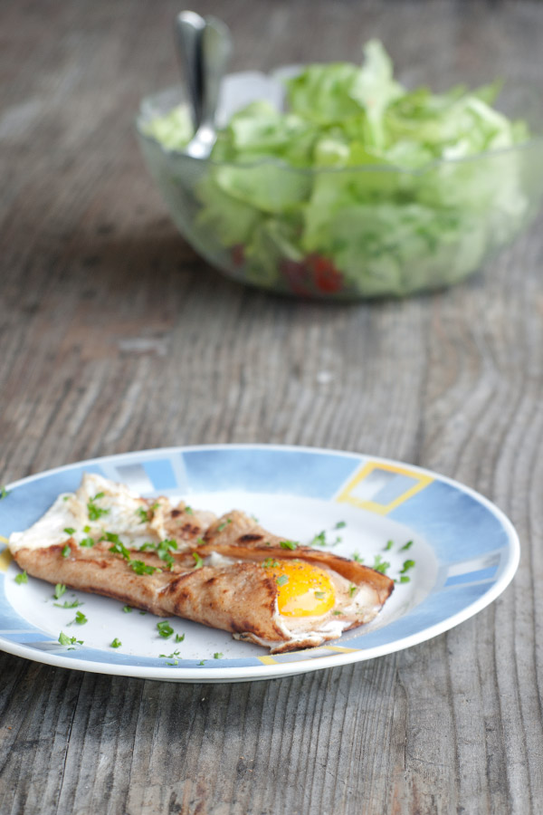 Savoury Crepes with ham and egg