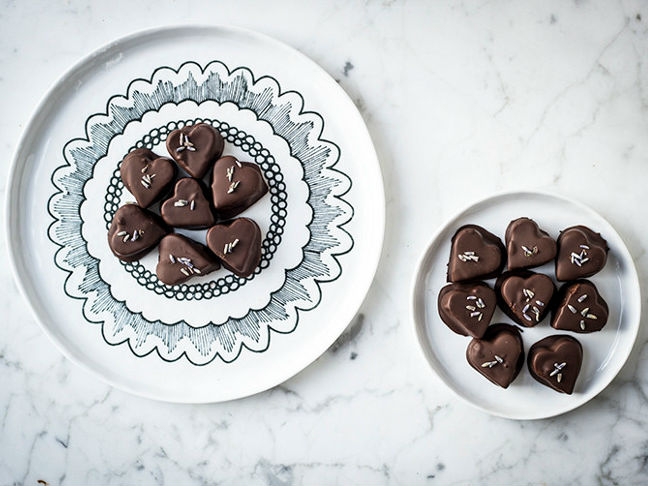Chocolate Coated Lavender Caramels